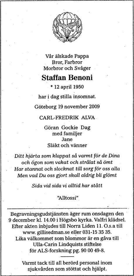 Staffan Benonis dödsannons